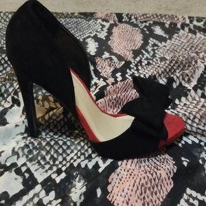 Black and red suede open toe heel